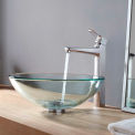 Kraus C-GV-101-12mm-15500CH Clear Glass Vessel Sink & Virtus Faucet Chrome