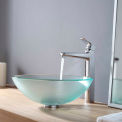 Kraus C-GV-101FR-12mm-15500CH Frosted Glass Vessel Sink & Virtus Faucet Chrome