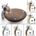 Kraus C-GV-103-12mm-10CH Clear Brown Glass Vessel Sink & Waterfall Faucet Chrome