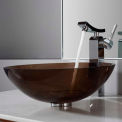 Kraus C-GV-103-12mm-14300CH Clear Brown Glass Vessel Sink & Unicus Faucet Chrome