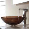 Kraus C-GV-103-12mm-14600CH Clear Brown Glass Vessel Sink & Sonus Faucet Chrome
