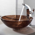 Kraus C-GV-103-12mm-14700CH Clear Brown Glass Vessel Sink & Illusio Faucet Chrome