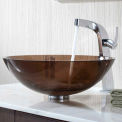 Kraus C-GV-103-12mm-15100CH Clear Brown Glass Vessel Sink & Typhon Faucet Chrome