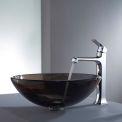 Kraus C-GV-103-12mm-15200CH Clear Brown Glass Vessel Sink & Decorum Faucet Chrome
