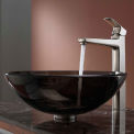 Kraus C-GV-103-12mm-15500BN Clear Brown Glass Vessel Sink & Virtus Faucet Brushed Nickel