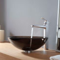 Kraus C-GV-103-12mm-15500CH Clear Brown Glass Vessel Sink & Virtus Faucet Chrome