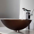 Kraus C-GV-103FR-12mm-14300CH Frosted Brown Glass Vessel Sink & Unicus Faucet Chrome