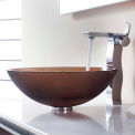 Kraus C-GV-103FR-12mm-14600CH Frosted Brown Glass Vessel Sink & Sonus Faucet Chrome