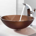 Kraus C-GV-103FR-12mm-14700CH Frosted Brown Glass Vessel Sink & Illusio Faucet Chrome
