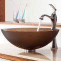 Kraus C-GV-103FR-12mm-15000CH Frosted Brown Glass Vessel Sink & Ventus Faucet Chrome