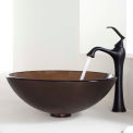 Kraus C-GV-103FR-12mm-15000ORB Frosted Brown Glass Vessel Sink & Ventus Faucet Oil Rubbed Bronze