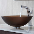 Kraus C-GV-103FR-12mm-15100CH Frosted Brown Glass Vessel Sink & Typhon Faucet Chrome