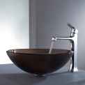 Kraus C-GV-103FR-12mm-15200CH Frosted Brown Glass Vessel Sink & Decorum Faucet Chrome