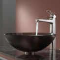 Kraus C-GV-103FR-12mm-15500BN Frosted Brown Glass Vessel Sink & Virtus Faucet Brushed Nickel