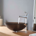 Kraus C-GV-103FR-12mm-15500CH Frosted Brown Glass Vessel Sink & Virtus Faucet Chrome