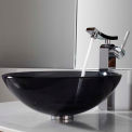 Kraus C-GV-104-12mm-14300CH Clear Black Glass Vessel Sink & Unicus Faucet Chrome