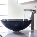 Kraus C-GV-104-12mm-14600CH Clear Black Glass Vessel Sink & Sonus Faucet Chrome
