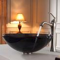 Kraus C-GV-104-12mm-15000BN Clear Black Glass Vessel Sink & Ventus Faucet Brushed Nickel