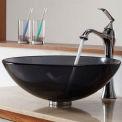 Kraus C-GV-104-12mm-15000CH Clear Black Glass Vessel Sink & Ventus Faucet Chrome