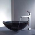 Kraus C-GV-104-12mm-15200CH Clear Black Glass Vessel Sink & Decorum Faucet Chrome