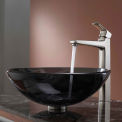 Kraus C-GV-104-12mm-15500BN Clear Black Glass Vessel Sink & Virtus Faucet Brushed Nickel