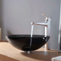 Kraus C-GV-104-12mm-15500CH Clear Black Glass Vessel Sink & Virtus Faucet Chrome