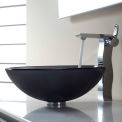Kraus C-GV-104FR-12mm-14600CH Frosted Black Glass Vessel Sink & Sonus Faucet Chrome