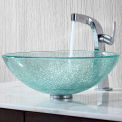 Kraus C-GV-500-12mm-15100CH Mosaic Glass Vessel Sink & Typhon Faucet Chrome