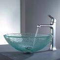 Kraus C-GV-500-12mm-15200CH Mosaic Glass Vessel Sink & Decorum Faucet Chrome