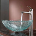 Kraus C-GV-500-12mm-15500BN Mosaic Glass Vessel Sink & Virtus Faucet Brushed Nickel