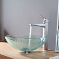 Kraus C-GV-500-12mm-15500CH Mosaic Glass Vessel Sink & Virtus Faucet Chrome