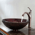 Kraus C-GV-570-12mm-1005ORB Callisto Glass Vessel Sink & Riviera Faucet Oil Rubbed Bronze
