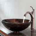 Kraus C-GV-580-12mm-1005ORB Copper Illusion Glass Vessel Sink & Riviera Faucet Oil Rubbed Bronze