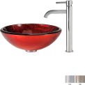Kraus C-GV-692-19mm-1007CH Charon Glass Vessel Sink & Ramus Faucet Chrome