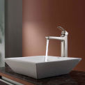 Kraus C-KCV-125-15500BN White Square Ceramic Sink & Virtus Faucet Brushed Nickel