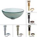 "Kraus GV-101-14-G Clear 14"" Glass Vessel Sink W/PU-MR Gold"