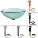Kraus GV-101-SN Clear Glass Vessel Sink W/PU-MR Satin Nickel