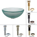 """Kraus GV-101FR-14-ORB Frosted 14"""" Glass Vessel Sink W/PU-MR Oil Rubbed Bronze"""