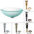 Kraus GV-101FR-ORB Frosted Glass Vessel Sink W/PU-MR Oil Rubbed Bronze