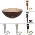 "Kraus GV-103-14-ORB Clear Brown 14"" Glass Vessel Sink W/PU-MR Oil Rubbed Bronze"