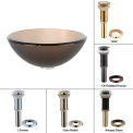 """Kraus GV-103FR-14-ORB Frosted Brown 14"""" Glass Vessel Sink W/PU-MR Oil Rubbed Bronze"""