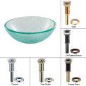 "Kraus GV-500-14-SN 14"" Mosaic Glass Vessel Sink W/PU-MR Satin Nickel"