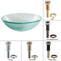 Kraus GV-500-G Mosaic Glass Vessel Sink W/PU-MR Gold