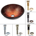 Kraus GV-580-SN Copper Illusion Glass Vessel Sink W/PU-MR Satin Nickel