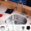 "Kraus KBU10-KPF1621-KSD30CH 23"" Undermount Single SS Sink W/Chrome Faucet & Soap Dispenser"