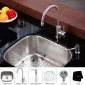 "Kraus KBU11-KPF2160-SD20 20"" Undermount Single Bowl SS Kitchen Sink W/Faucet & Soap Dispenser"