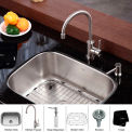 "Kraus KBU12-KPF2160-SD20 23"" Undermount Single Bowl SS Kitchen Sink W/Faucet & Soap Dispenser"
