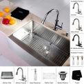 """Kraus KHF200-33-KPF2220-KSD30CH 33"""" Farmhouse Single SS Sink W/Chrome Faucet & Soap Dispenser"""