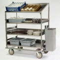 Lakeside® B591 Soiled Dish Sorting Cart - 3 Flat 1 Angled