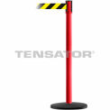 Slimline Tensabarrier Black and Yellow Diagonal Striped - Red